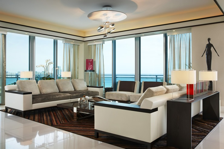 Bal Harbour Living Room  One Bal Harbour Conduminium  by Britto Charette Britto Charette Bal Harbour living room