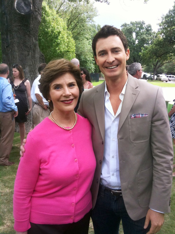 Peter with Former First Lady, Laura Bush at her home in Dallas, Texas.