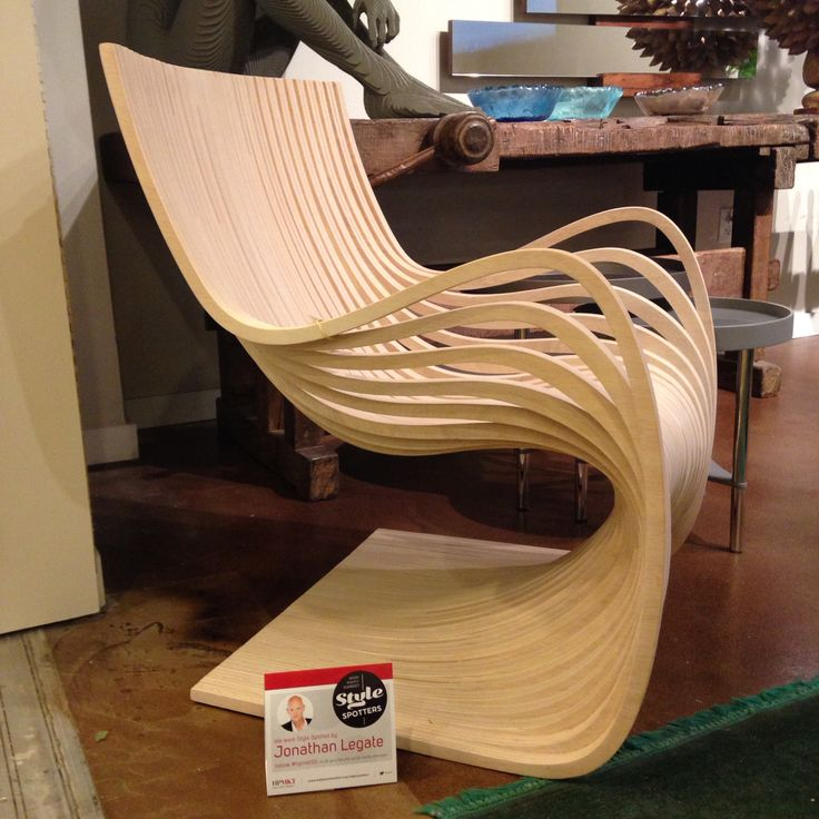 Wooden wave chair by Roberta Schilling is sexy, natural and lux.  High Point Market 2015 – Most Fascinating Style Spotters' Choices Part 3 Jonathan Legate wave chair