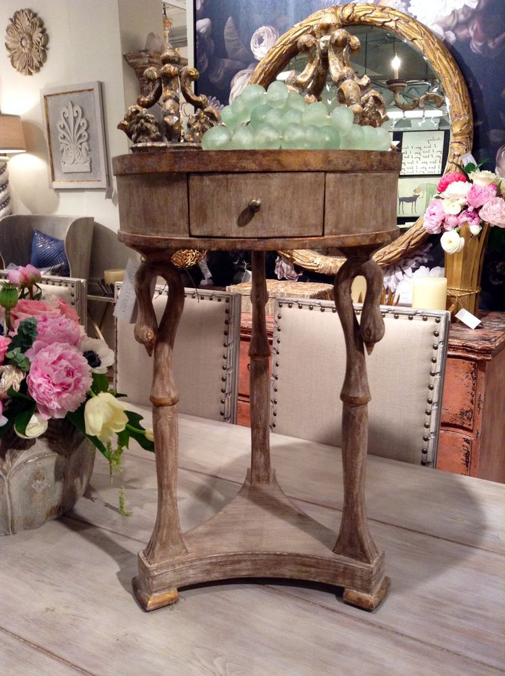 The Cignet Accent Table by Bliss Studio with beautiful legs and feminine style.  High Point Market 2015 – Most Fascinating Style Spotters' Choices Part 3 Leslie Hendrix Wood cignet accent table