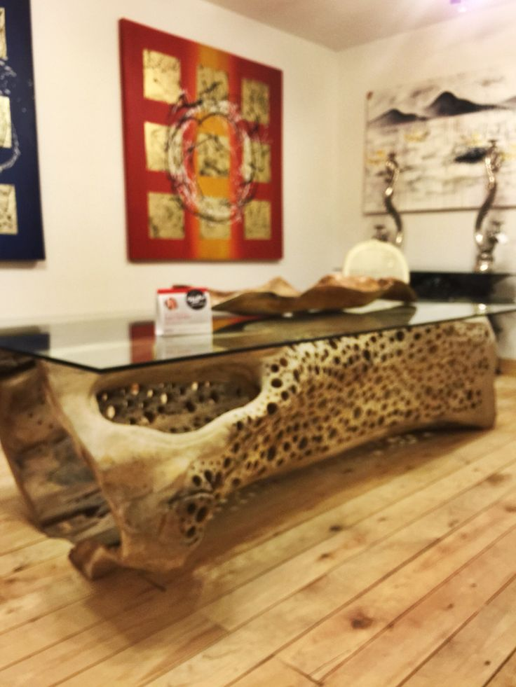 A one of a kind dining/conference table from Antiques & Interiors uses a Suar tree trunk from Java as its base. This will surely get the conversation going.  High Point Market 2015 – Most Fascinating Style Spotters' Choices Part 2 Lori Gilder dining table