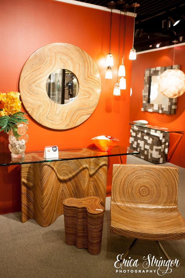 "Oggetti Luce IHFC H421 presents ""Zig-Zag Console from the Showtime Collection. Hand-made from coconut twig and ratan.  High Point Market 2015 – Most Fascinating Style Spotters' Choices Part 2 Patti Johnson ziga zag console"