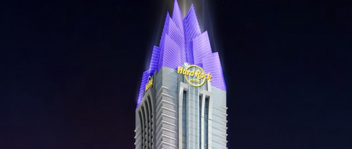 DWP Top Project: Hard Rock Hotel Dubai  DWP Top Project: Hard Rock Hotel Dubai Hard rock Tower Night HR