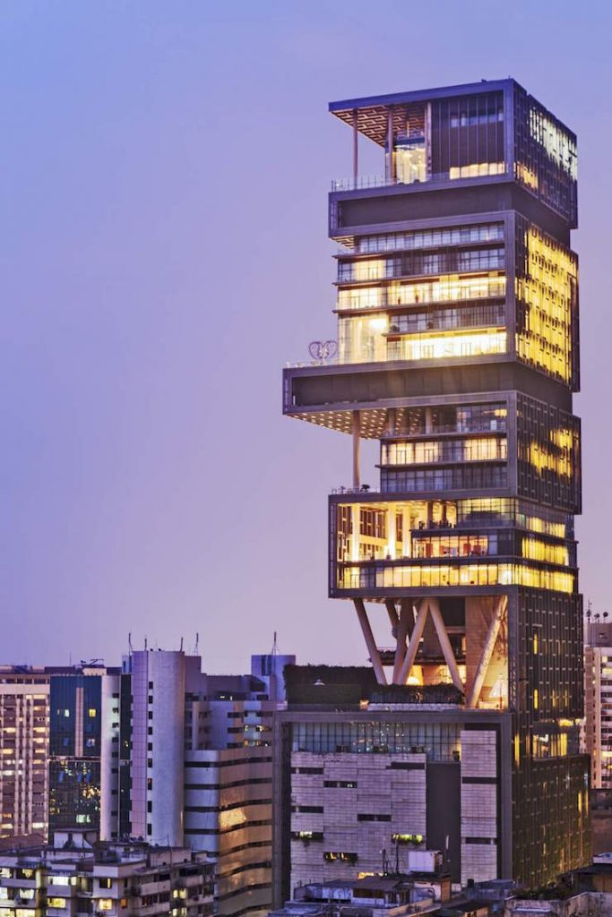 India, Maharashtra, Mumbai, Kemp's Corner, Antilia aka the Ambani building on Altamont Road.  Top Interior Designers | Hirsch Bedner Associates California 141114 em exphomes antilia