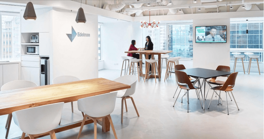 Edelman Hong Kong Hong Kong, China In expanding their existing Wan Chai offices, Edelman came to Gensler to create an active workplace with a relaxed environment.  In order to incorporate existing low ceilings into the design while still creating a feeling of spaciousness, the floor plate was opened, expanding and visually connecting the space— and boosting collaboration and productivity in the process. Completed on a limited budget, the reconfigured layout removed previous barriers between departments and relocated a conference room to increase its visibility. Although the number of desks was reduced, additional conference rooms and increased creative space accommodate both projected growth and teamwork—the crux of Edelman's work process.  Top Architects | Gensler Hong Kong Top Architects Gensler Hong Kong 4