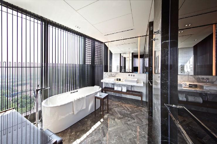 Hirsch Bedner Associates nuo hotel suite bathroom design modern and clean  25 Best Interior Design Projects by HBA / Hirsch Bedner Associates 13 Hirsch Bedner Associates nuo hotel suite bathroom design modern and clean