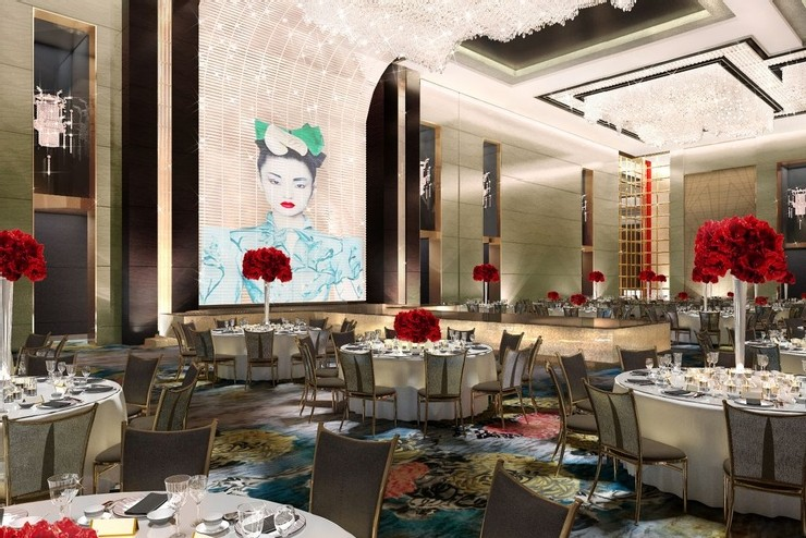 Ballroom rendering by HBA Hirsch Bedner Associates for the Shangri-La Hotel Jing An dining area  25 Best Interior Design Projects by HBA / Hirsch Bedner Associates 3 Ballroom rendering by HBA Hirsch Bedner Associates for the Shangri La Hotel Jing An dining area