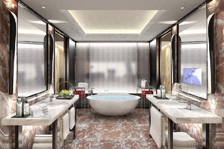 Bathroom rendering for Four Seasons Hotel Guangzhou, designed by HBAHirsch Bedner Associates.  25 Best Interior Design Projects by HBA / Hirsch Bedner Associates 7 Bathroom rendering for Four Seasons Hotel Guangzhou designed by HBAHirsch Bedner Associates