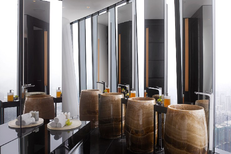 Hirsch Bedner Associates restroom design at Four Seasons Guangzhou, China  25 Best Interior Design Projects by HBA / Hirsch Bedner Associates 9 Hirsch Bedner Associates restroom design at Four Seasons Guangzhou China