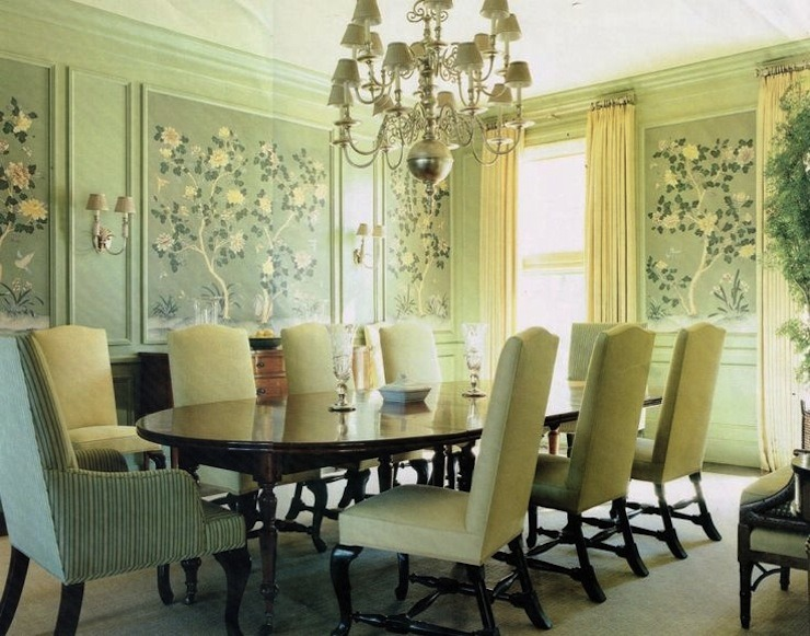 Barbara Barry ~ analogous tone on tone dining room with chinoiserie  wallpaper 25 Best Interior Design