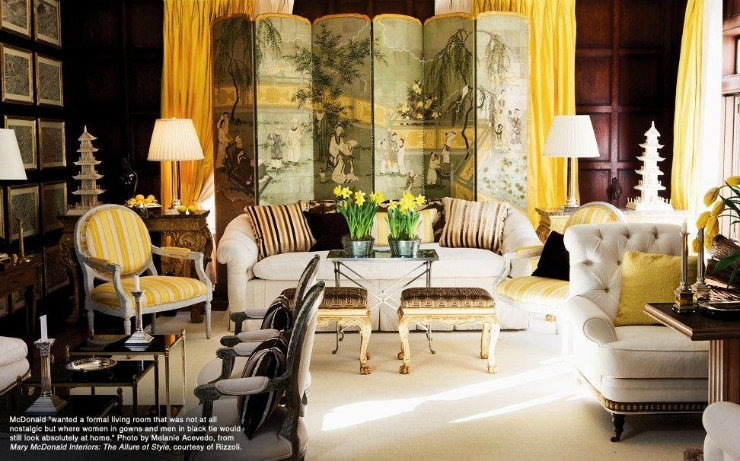Mar McDonald Living Room in yellow tones project  25 Best Interior Design Projects by Mary McDonald Mar McDonald Living Room in yellow tones project