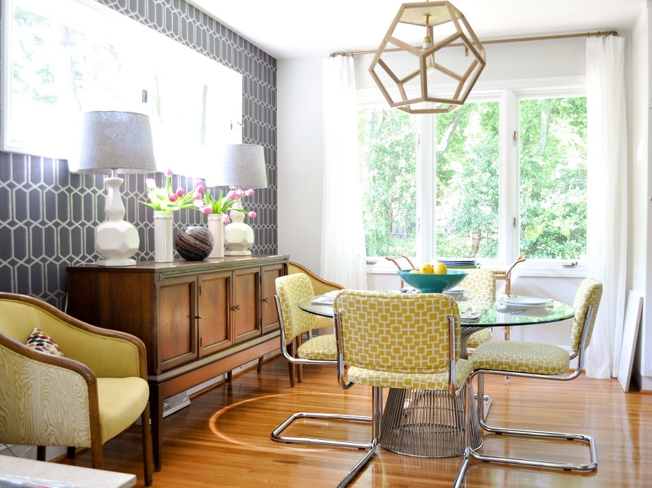 """Evaru is specialized in residential and commercial interior design, space planning and renovations, and any project is too big for this team.""  Best interior designers in North Carolina RS Ashley DeLapp gray yellow mid century dining room 4x3"