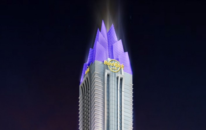 DWP Top Project: Hard Rock Hotel Dubai  DWP Top Project: Hard Rock Hotel Dubai Hard rock Tower Night HR e1432303871134
