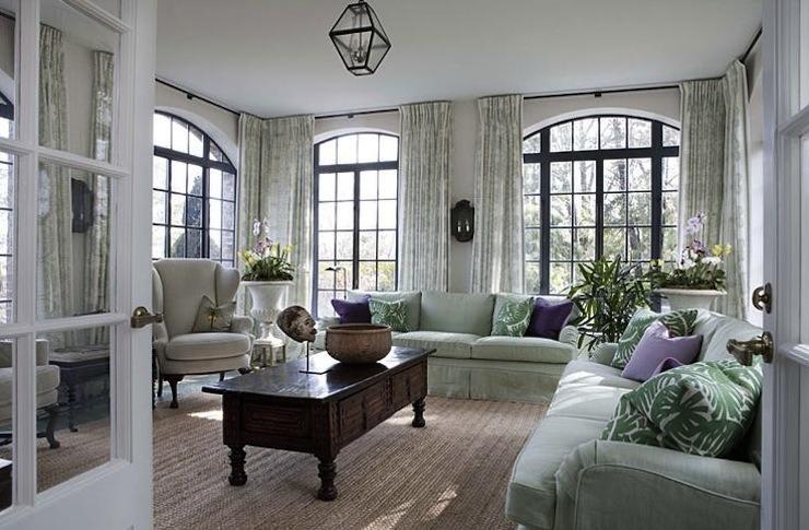 Robert Couturier mint green living room