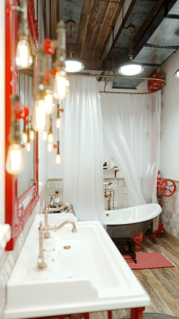 An Industrial Style Master Bathroom by Mihail Scherbbak