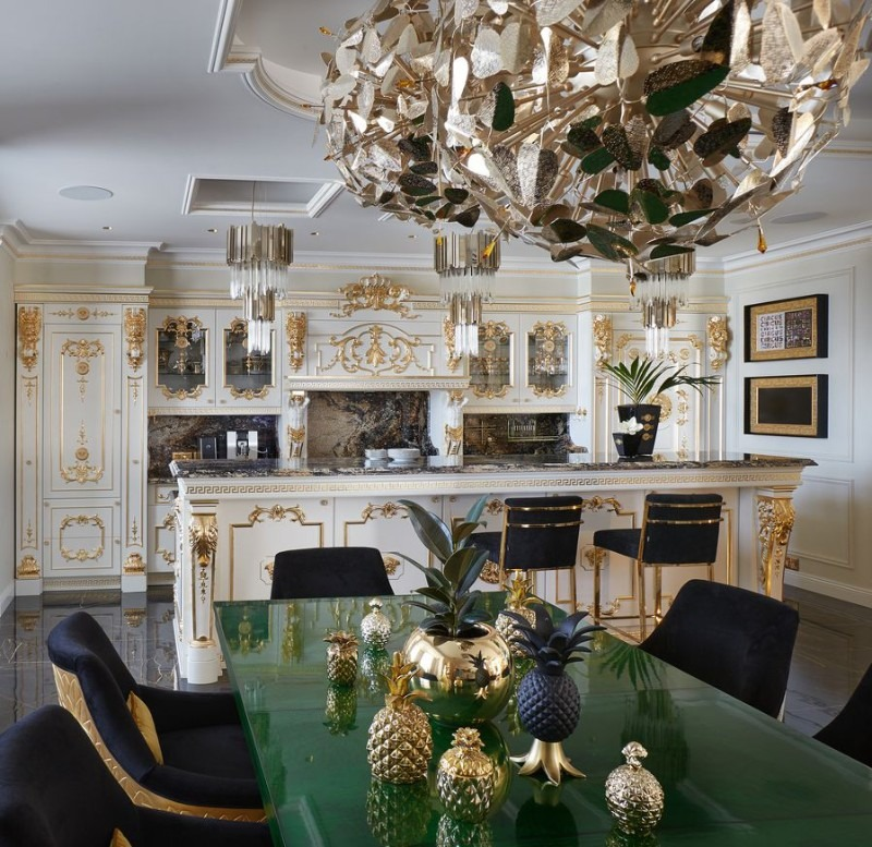 Take a Look at This Goldlusted Russian Apartment by Tatyana Myronova dining room Amazing Dining Room Designs by Superstar Interior Designers – Part 2 Take a Look at This Goldlusted Russian Apartment by Tatyana Myronova 7