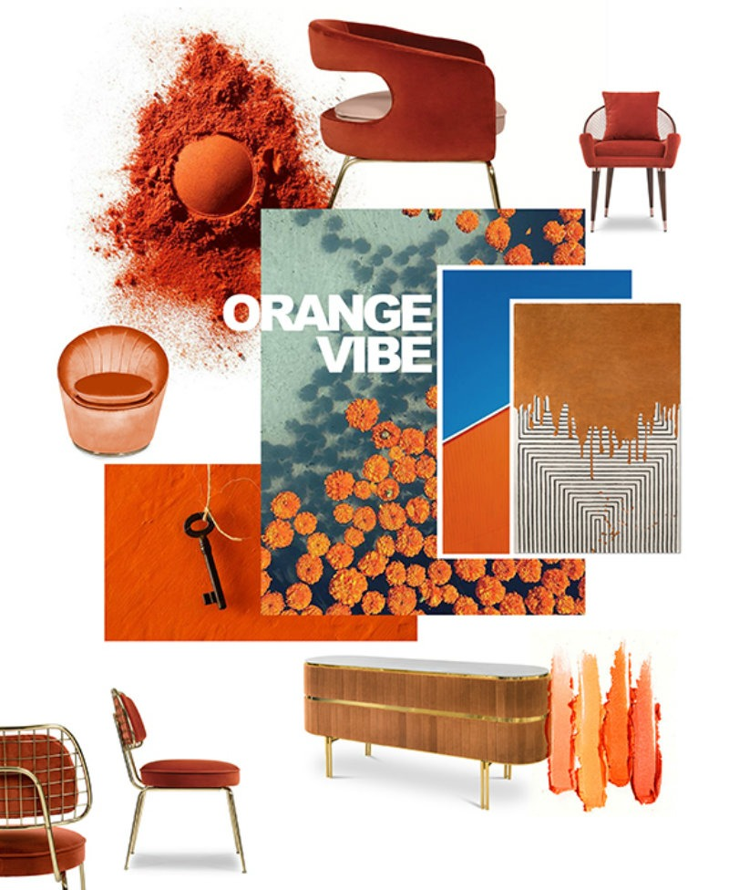 Orange and yellow will be two dominant hues in this year, with moody renditions of two permeating the realm of decorative accents, furnishings, and paint. Drawing from a true '70s-inspired palette, you may expect to see the two integrated within one another with effortless ease. design inspiration Searching for Some Design Inspiration? We Have The Moodboards You Need Searching for Some Design Inspiration We Have The Moodboards You Need 6