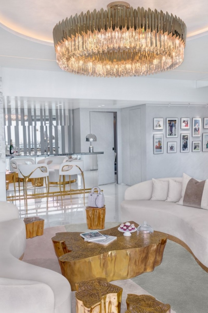 A Luxurious White and Gold Open Space by Vratika & Nakul   An Open Space Luxury Residence by Vratika & Nakul A Sense Of Glam And Sophistication Inside This Luxury Residence 4 683x1024 1