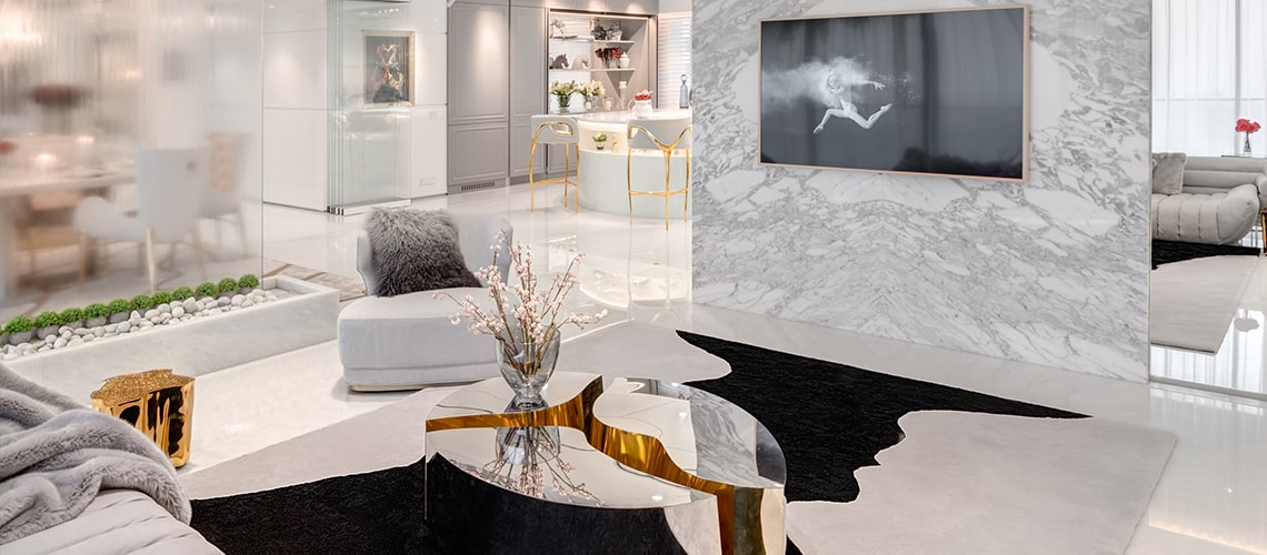 A Luxurious White and Gold Open Space by Vratika & Nakul  An Open Space Luxury Residence by Vratika & Nakul luxurious white and gold open space