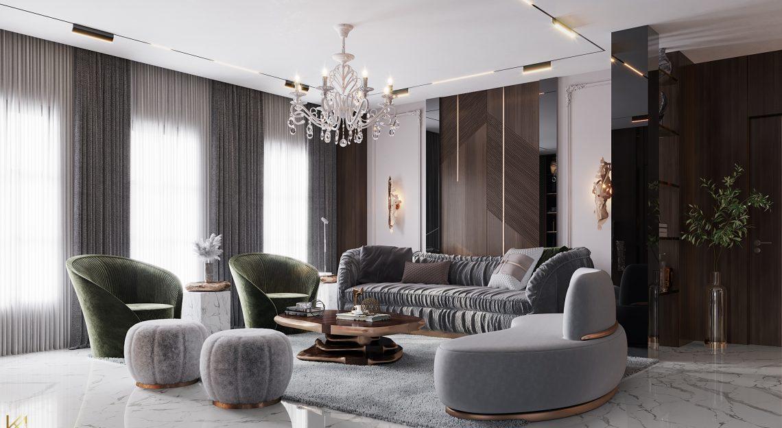modern classic villa Covet House x K.A Interior Design: Step Inside This Modern Classic Villa Living Room 5 1140x624
