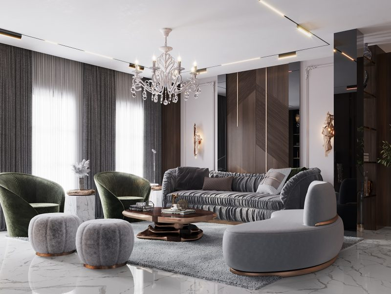 modern classic villa Covet House x K.A Interior Design: Step Inside This Modern Classic Villa Living Room 5 800x602