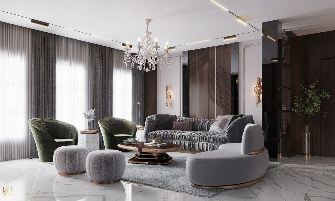 modern classic villa Covet House x K.A Interior Design: Step Inside This Modern Classic Villa Living Room 5 scaled