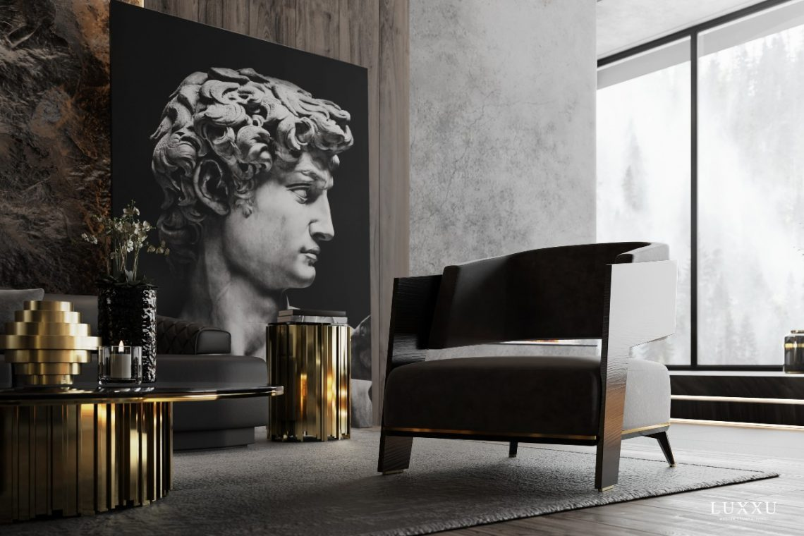 A dark living room decorated with one-of-a-kind pieces
