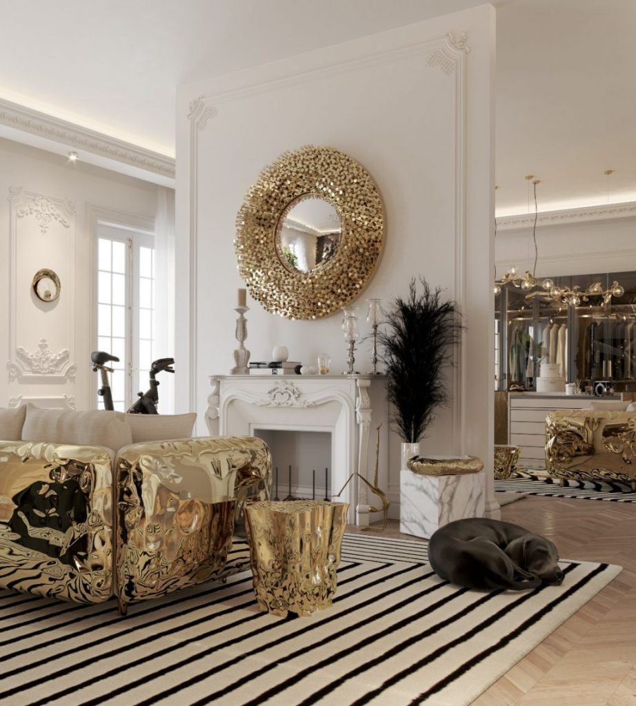 Imperfectio modern sofa brings an elegant flair to this luxury penthouse decoration.