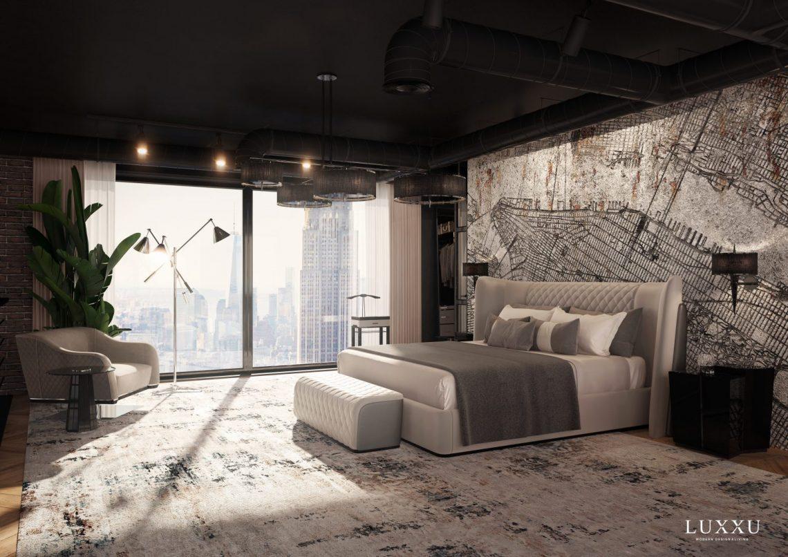 Grey spacious cosmopolitan bedroom