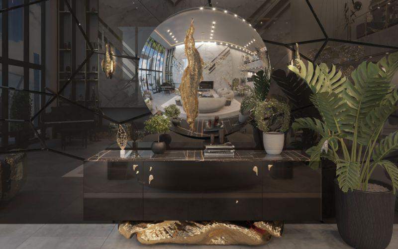 New York Penthouse By Boca Do Lobo Black Entryway With Big Mirror