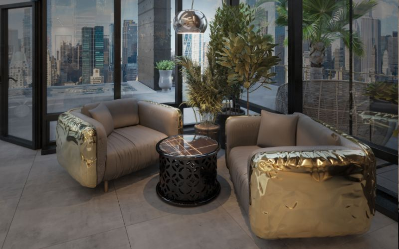 Gold Armchairs for the Lounge Area