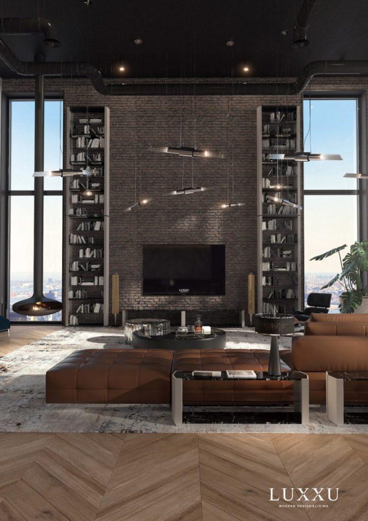 Spacious leather sofa living room