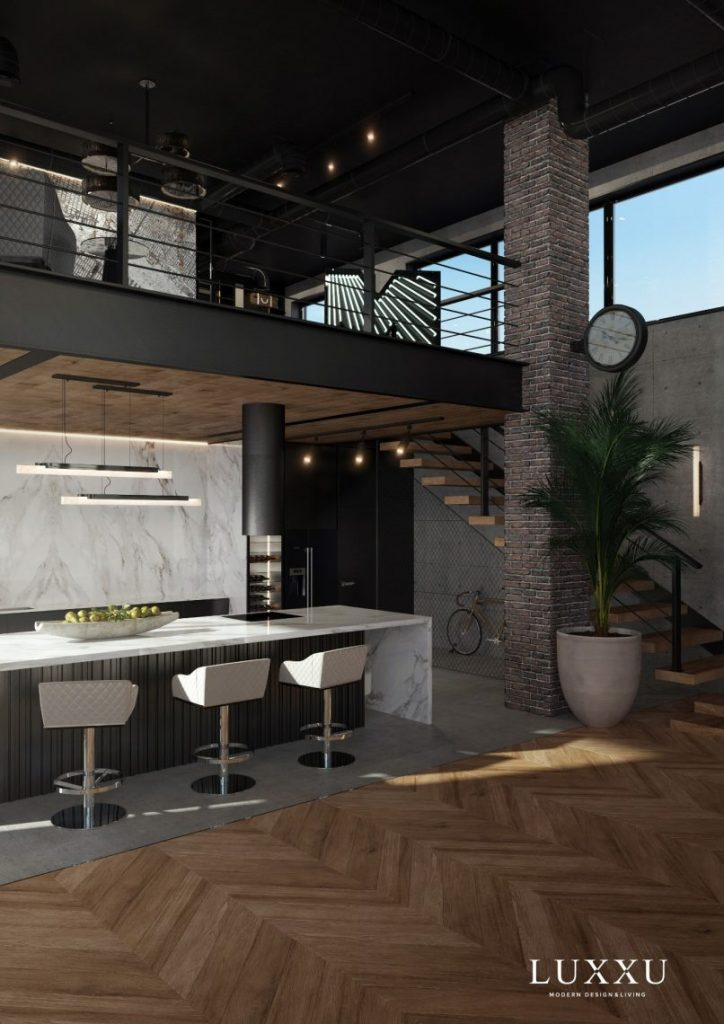 Neutral-colored Open Space Modern Kitchen