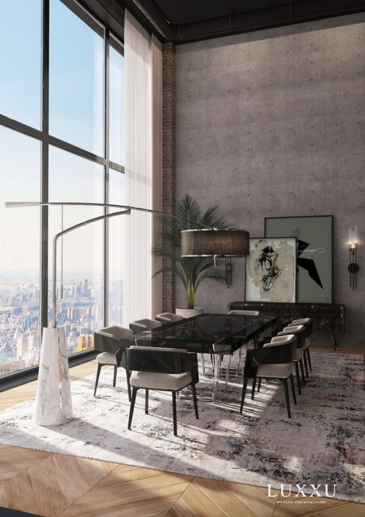 Black dinning area with a view